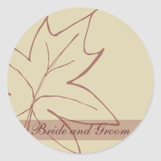 Fall Maple Leaf Wedding Envelope Seal Round Sticker