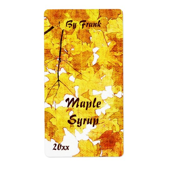 Fall maple leaves maple syrup label shipping label