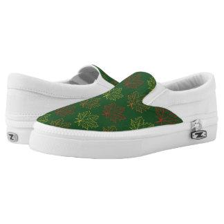 Fall Maple Leaves Pattern Green Art Illustration Slip On Shoes