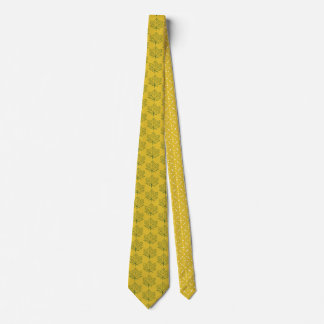 Fall Maple Leaves Pattern Mustard Yellow Art Tie