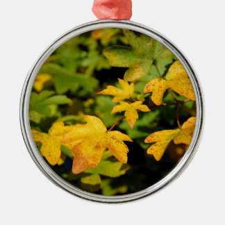 Fall maple leaves Silver-Colored round decoration