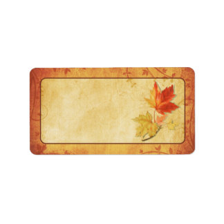 Fall Maple Leaves Wedding Blank Address Labels