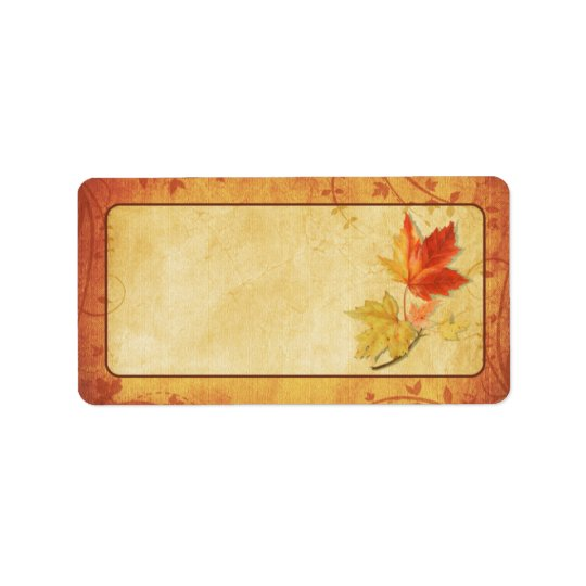 Fall Maple Leaves Wedding Blank Address Labels