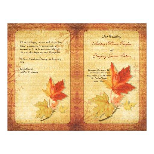 Fall Maple Leaves Wedding Program 21.5 Cm X 28 Cm Flyer