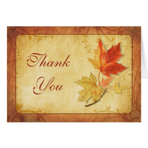 Fall Maple Leaves Wedding Thank You Card