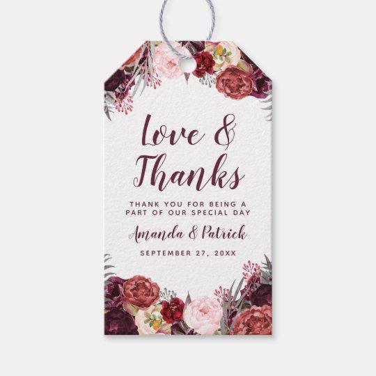 Fall Marsala Blush Pink Peony Wedding Favour Tags