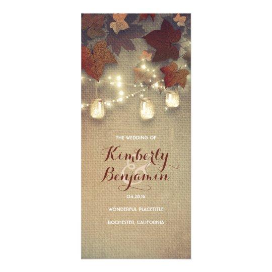 Fall Mason Jar Light Rustic Maple Wedding Programs