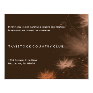Fall Minimalist Floral Wedding Reception Card 11 Cm X 14 Cm Invitation Card