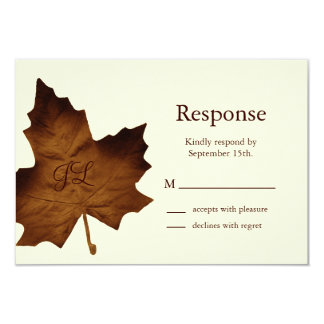 Fall Monogrammed RSVP (brown) 9 Cm X 13 Cm Invitation Card