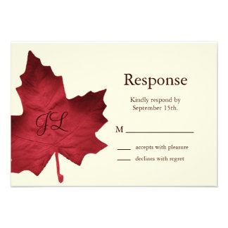 Fall Monogrammed RSVP red Custom Invitations
