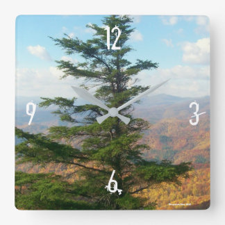 Fall mountain fir clock