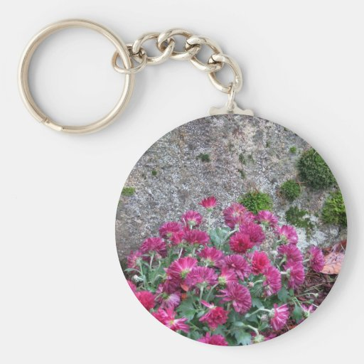 Fall Mums and Emerald Moss - photograph Key Chain