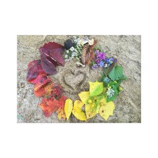 Fall nature rainbow wreath canvas