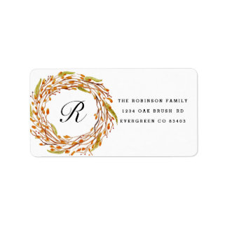 Fall Nest Watercolor | Custom Initial Address Label