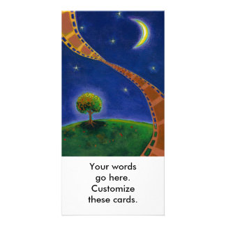Fall night movie art fun painting for film lovers personalised photo card