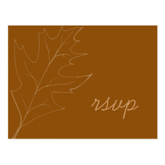 Fall Oak Leaf Wedding RSVP Response Postcard