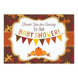 Fall Oak Leaves Gold Glitter Pumpkins Thank You 9 Cm X 13 Cm Invitation Card