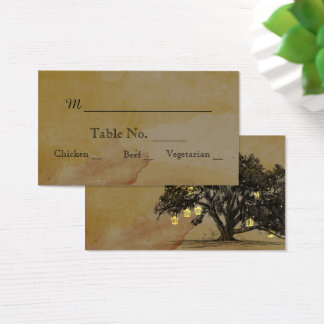 Fall Oak Tree Lantern Wedding Place Cards