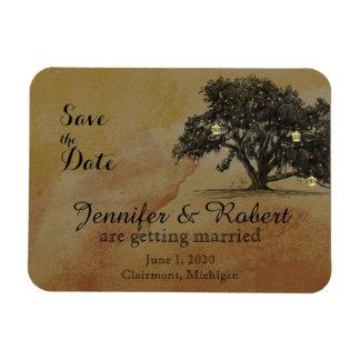 Fall Oak Tree Lantern Wedding Save the Date Rectangular Photo Magnet