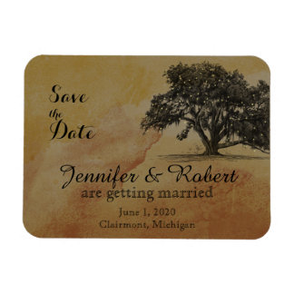 Fall Oak Tree String Lights Wedding Save the Date Magnet