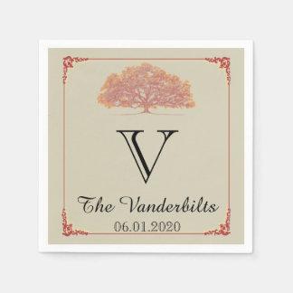 Fall Oak Tree Wedding Napkin Paper Napkins