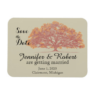 Fall Oak Tree Wedding Save the Date Rectangular Photo Magnet