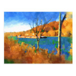 Fall on the Ohio watercolor art Postcard