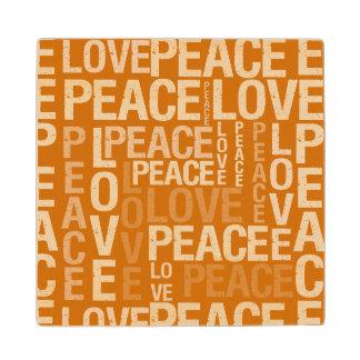 Fall Orange Love Peace Typography Maple Wood Coaster