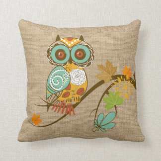 Fall Owl on faux Burlap Pillow