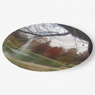 Fall Park scene Custom Paper Plates 9
