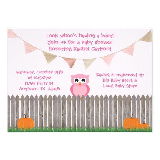 Fall Pink Owl on Fence Baby Shower Invitation