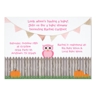 "Fall Pink Owl on Fence Baby Shower Invitation 5"" X 7"" Invitation Card"