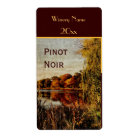 Fall pond wine bottle label