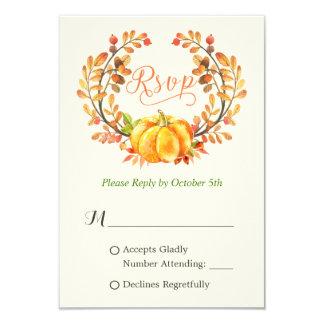 Fall Pumpkin Autumn Floral Leaves Wreath RSVP 9 Cm X 13 Cm Invitation Card