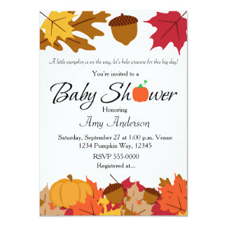 Fall Pumpkin Baby Shower Autumn Invitation