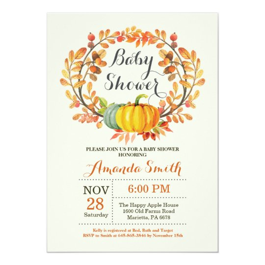 Fall Pumpkin Baby Shower Invitation Card