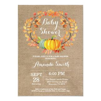 Fall Pumpkin Baby Shower Invitation Card Burlap