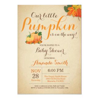 Fall Pumpkin Baby Shower Invitation Orange Brown