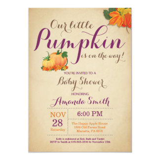 Fall Pumpkin Baby Shower Invitation Orange Purple