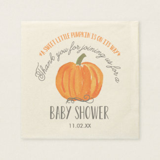 Fall Pumpkin | Baby Shower Napkin Disposable Napkins