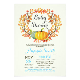 Fall Pumpkin Boy Baby Shower Invitation Card