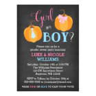 Fall Pumpkin Chalkboard Gender Reveal Party Card