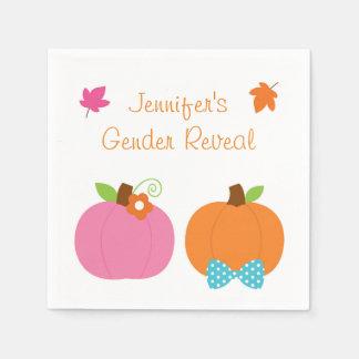 Fall Pumpkin Gender Reveal Napkins Disposable Serviette