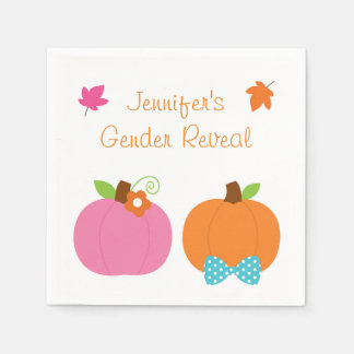 Fall Pumpkin Gender Reveal Napkins Disposable Serviettes