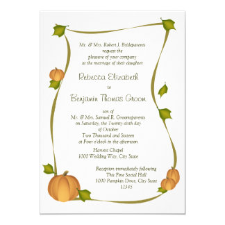 Fall Pumpkin Harvest Wedding Card