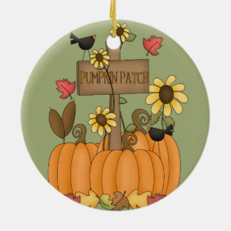 Fall Pumpkin Patch with Birds Christmas Ornament