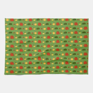 Fall Pumpkin:  Pattern on Green Kitchen Towel