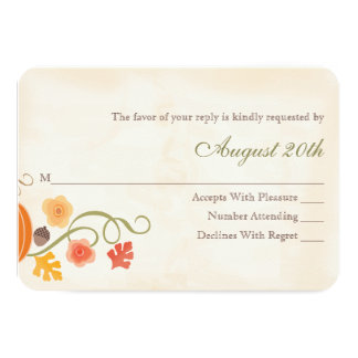 Fall Pumpkin RSVP Wedding Response Card 9 Cm X 13 Cm Invitation Card