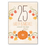 Fall Pumpkin Wedding Table Number Cards Table Cards