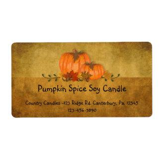 Fall Pumpkins Candle Label